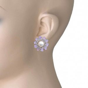 78-Drop-Cluster-Earrings-Clear-Rose-Opal-Crystals-Faux-Pearl-Gold-tone-361812533996