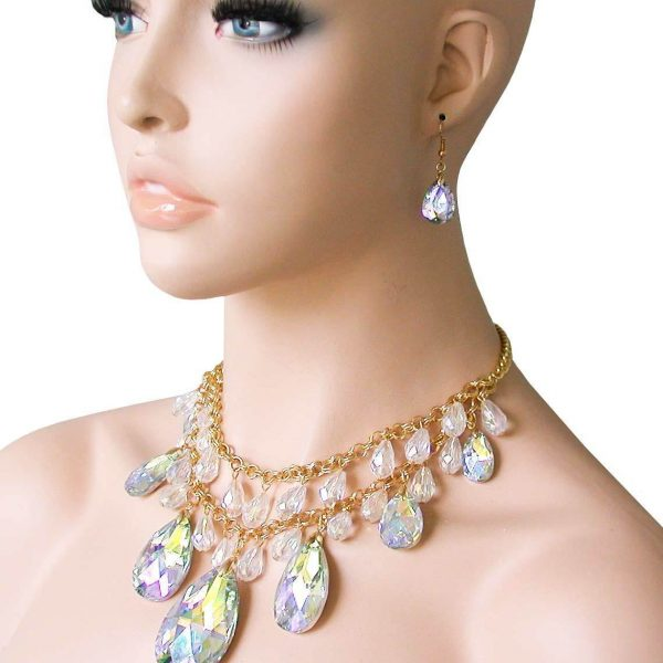 Aurora Borealis Glass Statement Multilayered Bib Necklace Earrings Set, Pageant