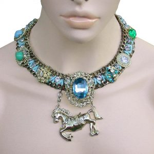 Blue-Green-Heavy-Necklace-Horse-Pendant-Lucite-Glass-Drag-Queen-Pageant-361801989776