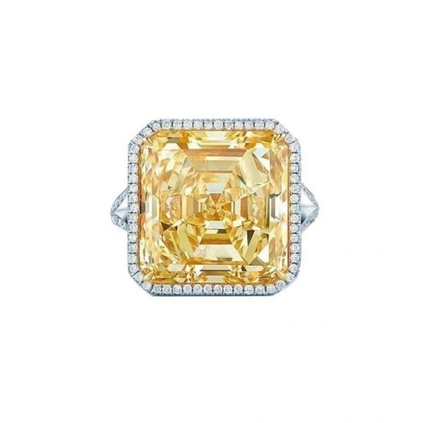 Bright Yellow Cubic Zircon CZ 925 Sterling Silver Halo Engagement Ring Size 6, 7