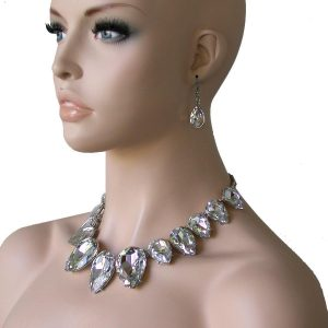 Clear-Glass-Gold-Tone-Statement-Necklace-Earrings-Bridal-Pageant-Drag-Queen-362014232286