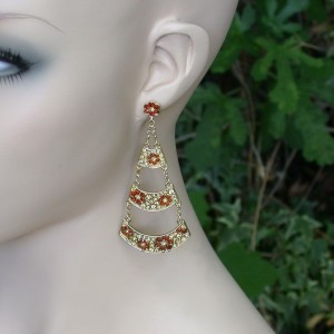 Designer-Inspired-Brown-Honey-Crystals-Floral-Chandelier-earrings-Pageant-361484400556