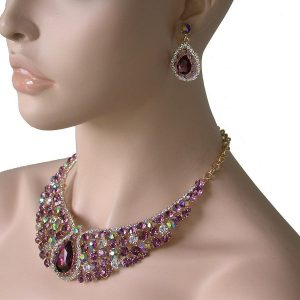 Evening-Necklace-Earrings-Set-Lavender-Purple-Crystals-PageantDrag-Queen-172842702476