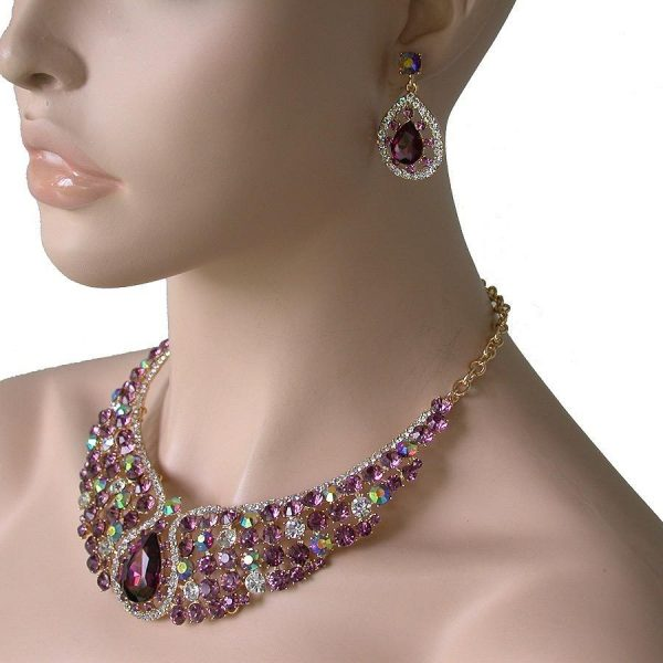 Evening Necklace & Earrings Set Lavender & Purple Crystals, Pageant,Drag Queen