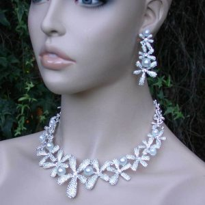 Floral-Necklace-Earrings-Set-White-Faux-Pears-Clear-Rhinestones-Pageant-Bridal-361428105116