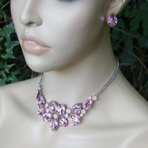 Floret-Necklace-Earrings-Set-Light-Rose-Pink-Acrylic-Crystals-Pageant-361614092236
