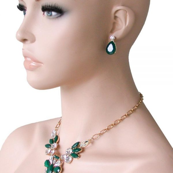 Gold Tone Designer Inspired Green & Clear Lucite Beads Necklace Earrings Set