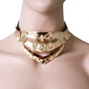 Gold-Tone-Hammered-Metal-Choker-Necklace-Faux-Leather-Vegan-Goth-Rockabilly-361832984386