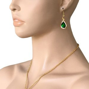 Green-Rhinestone-Teardrop-Pendant-Necklace-Earrings-Bright-Gold-Tone-Chain-361980801896
