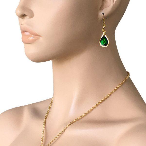 Green Rhinestone Teardrop Pendant Necklace & Earrings Bright Gold Tone Chain