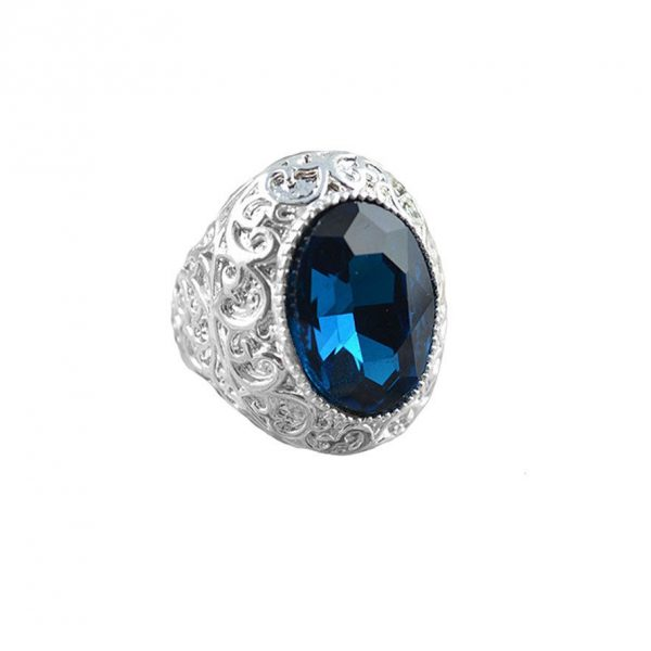 Heavy Unissex Oval Montana Blue Crystal Statement Ring Sizes 7, 10