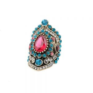Large-Turkish-BOHO-Bohemian-Style-Cocktail-Ring-Turquoise-Red-Crystals-361904730076
