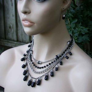 Multilayered-Multistrand-Necklace-Earrings-Set-Black-Lucite-Rhinestones-361754641916