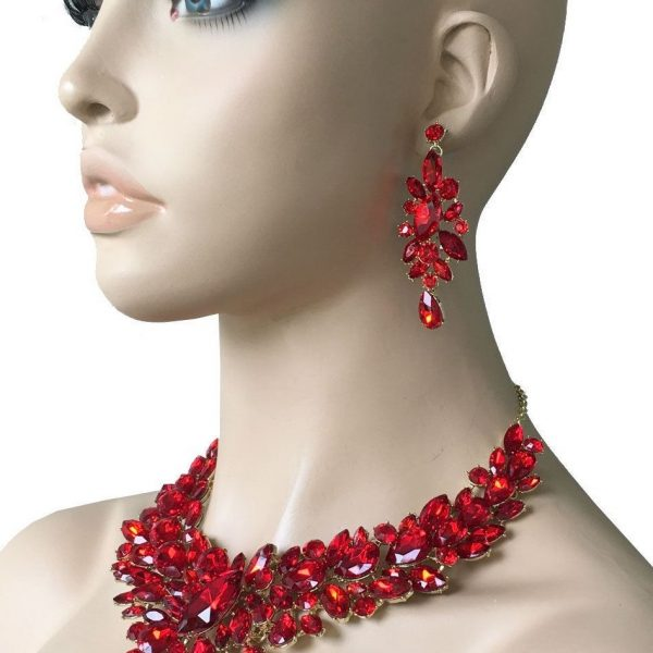 Red Rhinestones Statement Necklace Earrings Jewelry Bridal, Pageant, Drag Queen