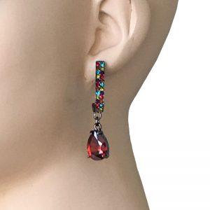 Red-Teardrop-Multicolor-Crystals-Gunmetal-Finish-Linear-Post-Earrings-362020003756