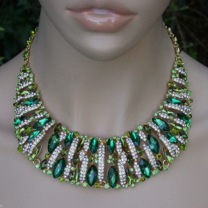 Shades-of-Green-Crystals-Cleopatra-Bib-Necklace-Earrings-Drag-Queen-Pageant-361485065436
