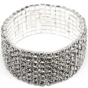 Silver-Tone-1-Wide-Stretch-Bracelet-Cler-Crystals-Pageant-Prom-Showgirl-172201546366