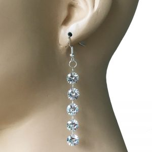 Silver-Tone-Clear-Glass-3-Long-Linear-Earrings-Pageant-Drag-QueenBride-172737605426