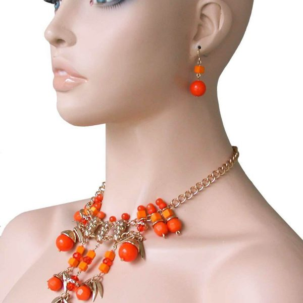 Statement Bib Necklace Earrings,Orange Coral Lucite Beads, Pageant, Drag Queen