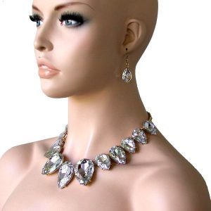 Statement-Large-Clear-Glass-Necklace-Earrings-Set-Bridal-Pageant-Drag-Queen-172215284466