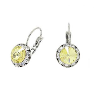 075-Drop-Leverback-Earrings-Clear-Yellow-Austrian-Crystals-Made-in-USA-361961443277