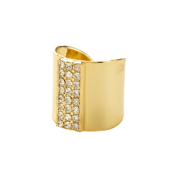 """0.75"""" Width Bright Gold Tone Clear Crystals Statement Ring By Sorrelli, Bridal"""