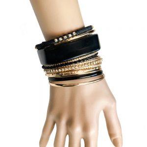 12-Stackable-Bangle-Bracelets-Set-Gold-tone-Black-Lucite-Rhinestones-Vegan-362066842127
