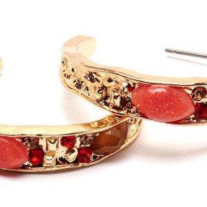 125-Long-Coral-Crystals-Fake-Agate-Huggie-Earrings-Gold-Tone-Pierced-Ears-361473796957
