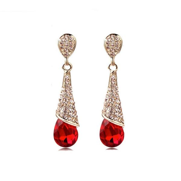 """1.75"""" Long Classic Screw Back Earrings, Red & Clear Crystals, Pageant, Bridal"""