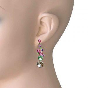 175-Long-Multi-Candy-Color-Glass-Dangle-Linear-Earrings-Pierced-Ears-172851194777
