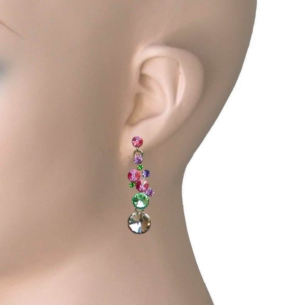 """1.75"""" Long Multi Candy Color Glass Dangle Linear Earrings, Pierced Ears"""