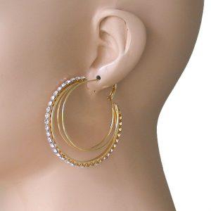 2-Diameter-Multi-Hoop-Earrings-Clear-Rhinestones-Gold-Tone-Urban-Hip-Hop-361952175227
