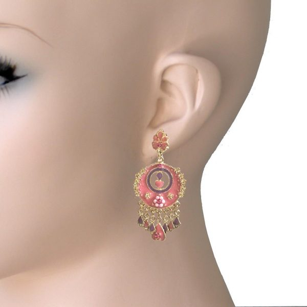 "2.25"" Long Romantic-Bohemian Earrings, Rose Pink Enamel & Rhinestones"