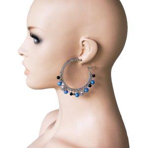 25-Drop-Charmed-Hoop-Earring-Blue-Glass-Faux-Pearl-Pageant-Drag-Queen-172221665387