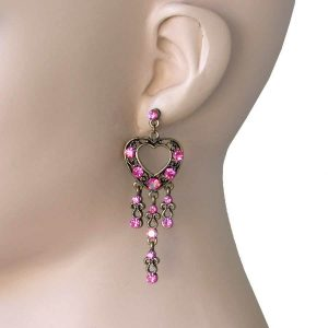 275-Long-Antique-Gold-Tone-Pink-Crystals-Linear-Heart-Earrings-Pageant-172450624327