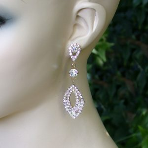 275-Long-Clear-Rhinestones-Linear-Post-Earrings-Pageant-Bridal-171757216507