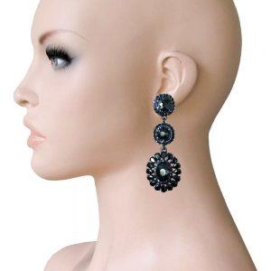 275-Long-Linear-Clip-On-Earrings-Black-Rhinestones-Drag-Queen-Pageant-172753569797