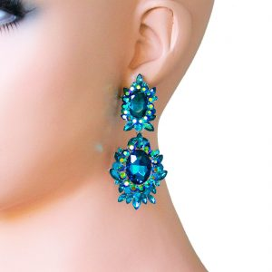 275-Long-Teal-Blue-Rhinestones-Evening-Earrings-PageantDrag-QueenBridal-361914264947