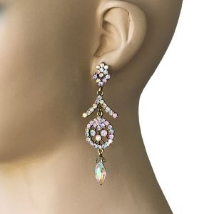 3-Long-Evening-Earrings-Aurora-Borealis-Rhinestones-PageantBridalDrag-Queen-361973004107