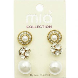 3-Pairs-Stud-Earrings-Faux-Pearls-Clear-Crystals-In-Gold-Tone-172160496667