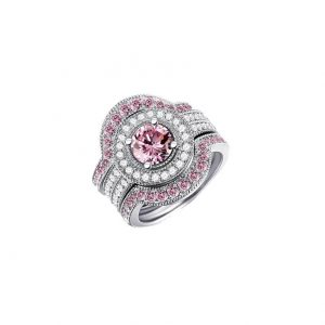 3-Rings-Set-Lab-Created-Pink-White-Sapphire-Stamped-925-Sterling-Silver-Size-8-361923993497