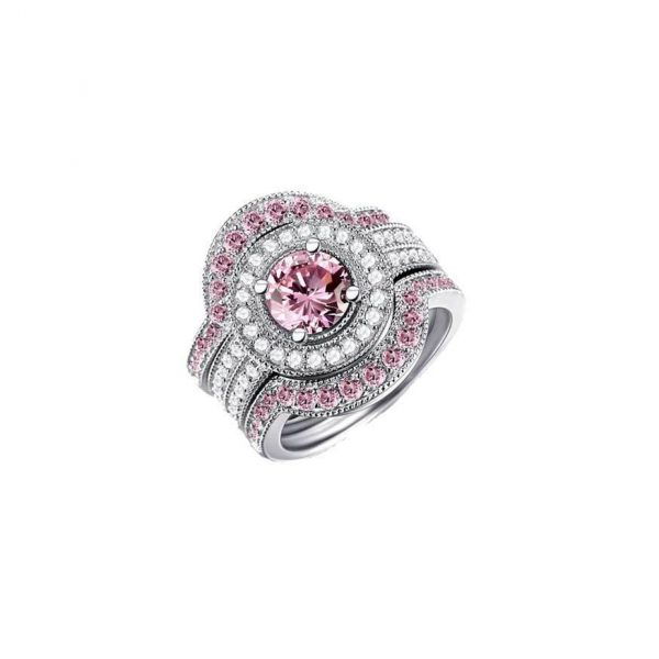 3 Rings Set Lab Created Pink & White Sapphire Stamped 925 Sterling Silver Size 8