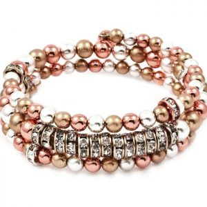 3-Strand-Silver-Copper-Gold-tone-Beads-Coil-Bangle-Bracelet-Clear-Crystals-172153162407