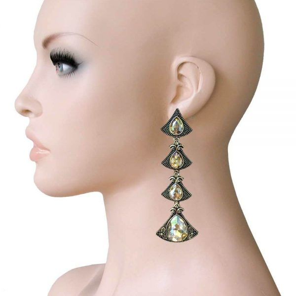 """3.5"""" Long, Deco Inspired Champagne Rhinestones Earrings, Pageant, Drag Queen"""