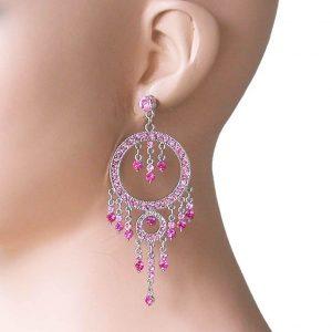 35-Long-Rose-Pink-Rhinestones-Bohemian-Hoop-Chandelier-EarringsPageant-361885263097