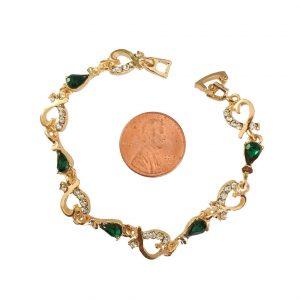 38-Wide-Dainty-Hearts-Green-Acrylic-Rhinestones-Bracelet-65-Long-172871348687