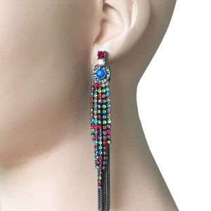 4-Long-Black-Fringe-Chains-Multicolor-Rhinestone-Earrings-Pageant-Drag-Queen-172571604867