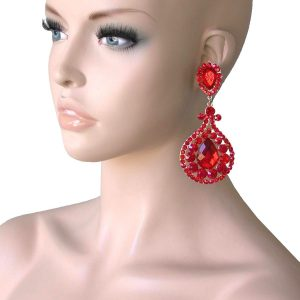 4-Long-Clear-Red-Rhinestones-Clip-On-earrings-Pageant-Drag-Queen-Stage-172869894767