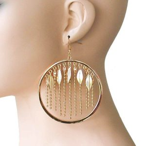 4-Long-Gold-Tone-Statement-Hoop-Earring-Leaf-Hip-Hop-Drag-Queen-Urban-172548517727