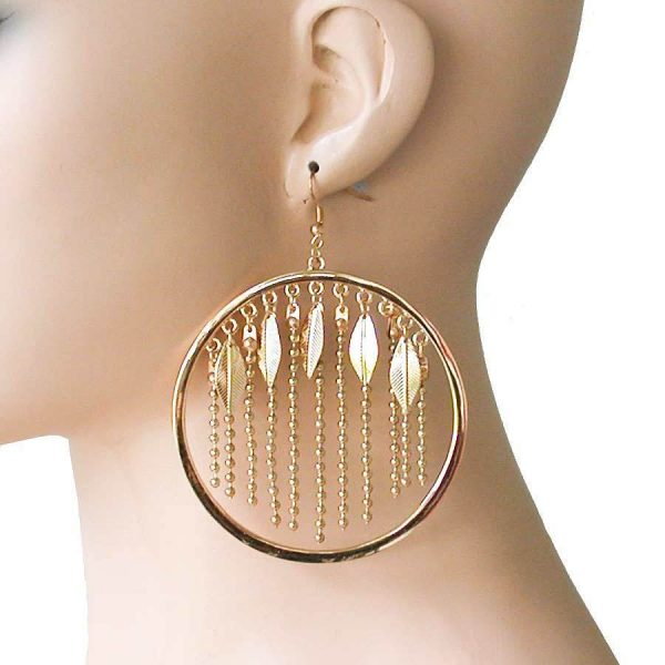 "4""  Long Gold Tone Statement Hoop Earring, Leaf, Hip Hop, Drag Queen, Urban"
